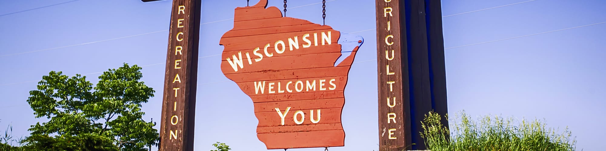 Wisconsin hanging sign