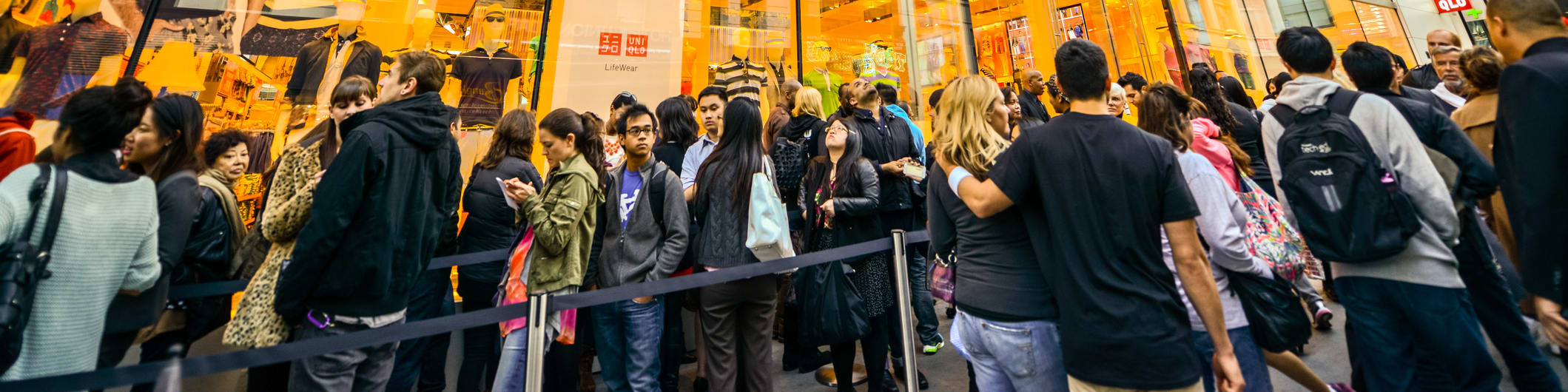people lined up outside store
