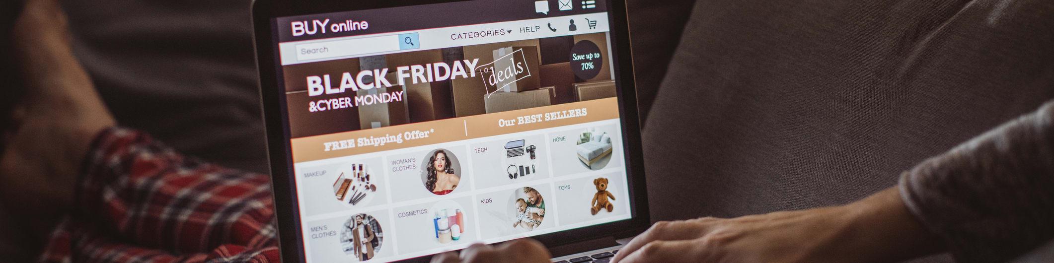 Black Friday shopping on laptop