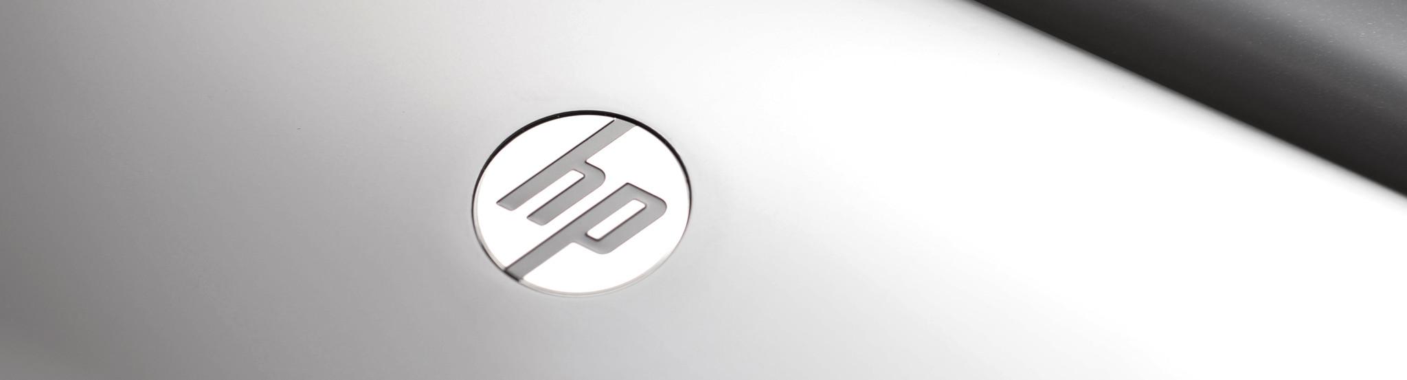 HP logo on device