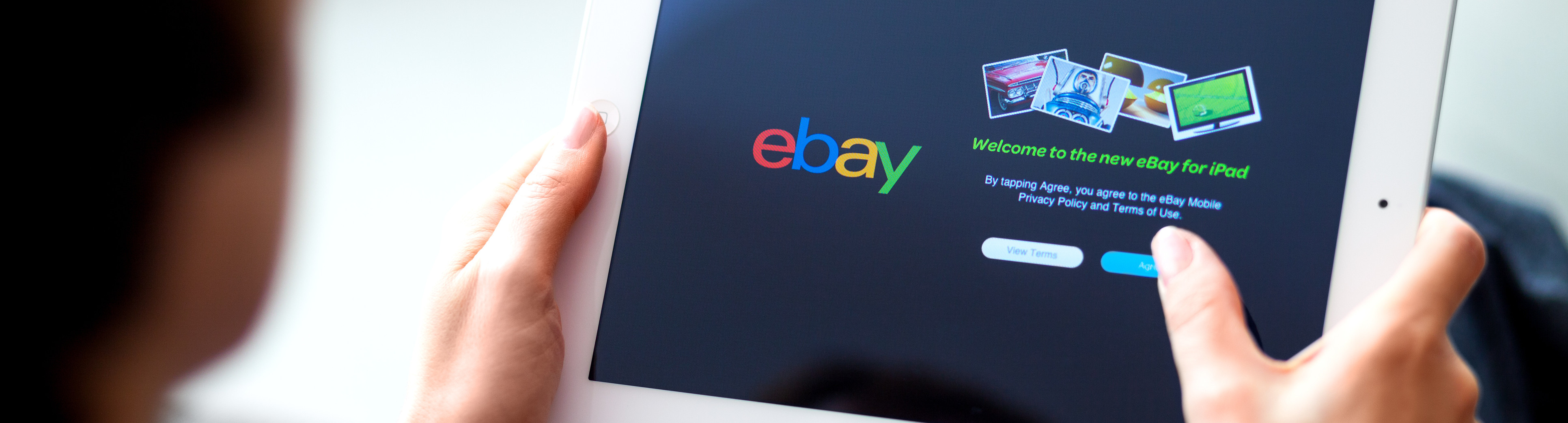 shopping eBay on tablet