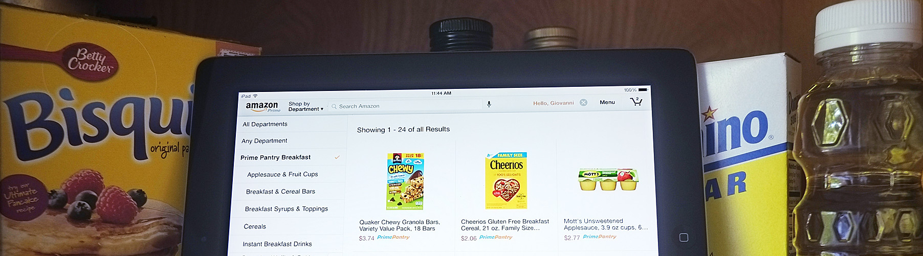 Prime Pantry on tablet