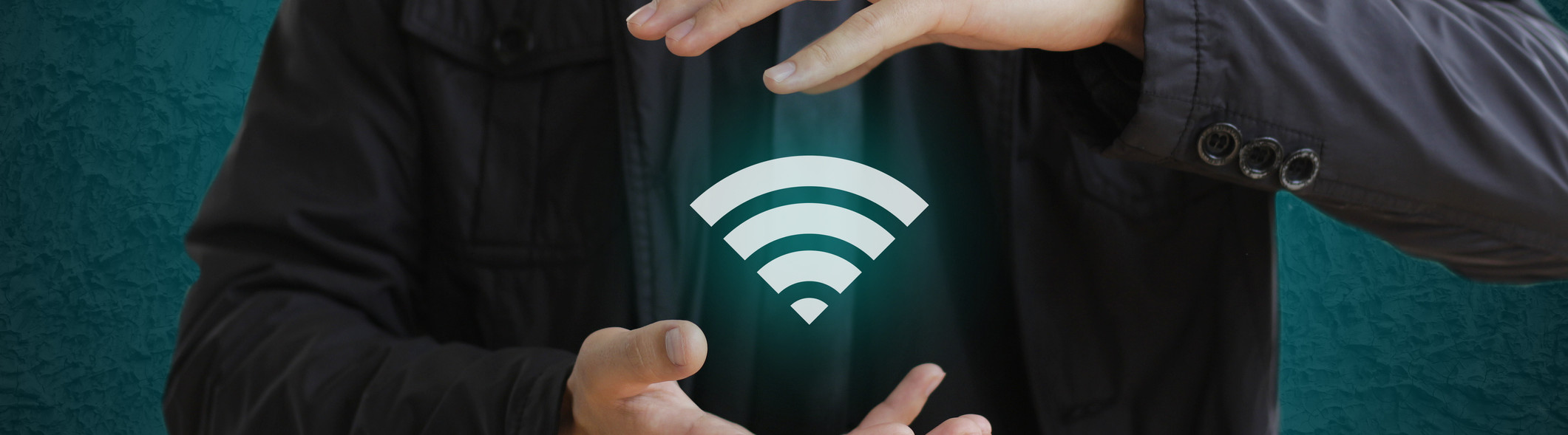hands with WiFi icon