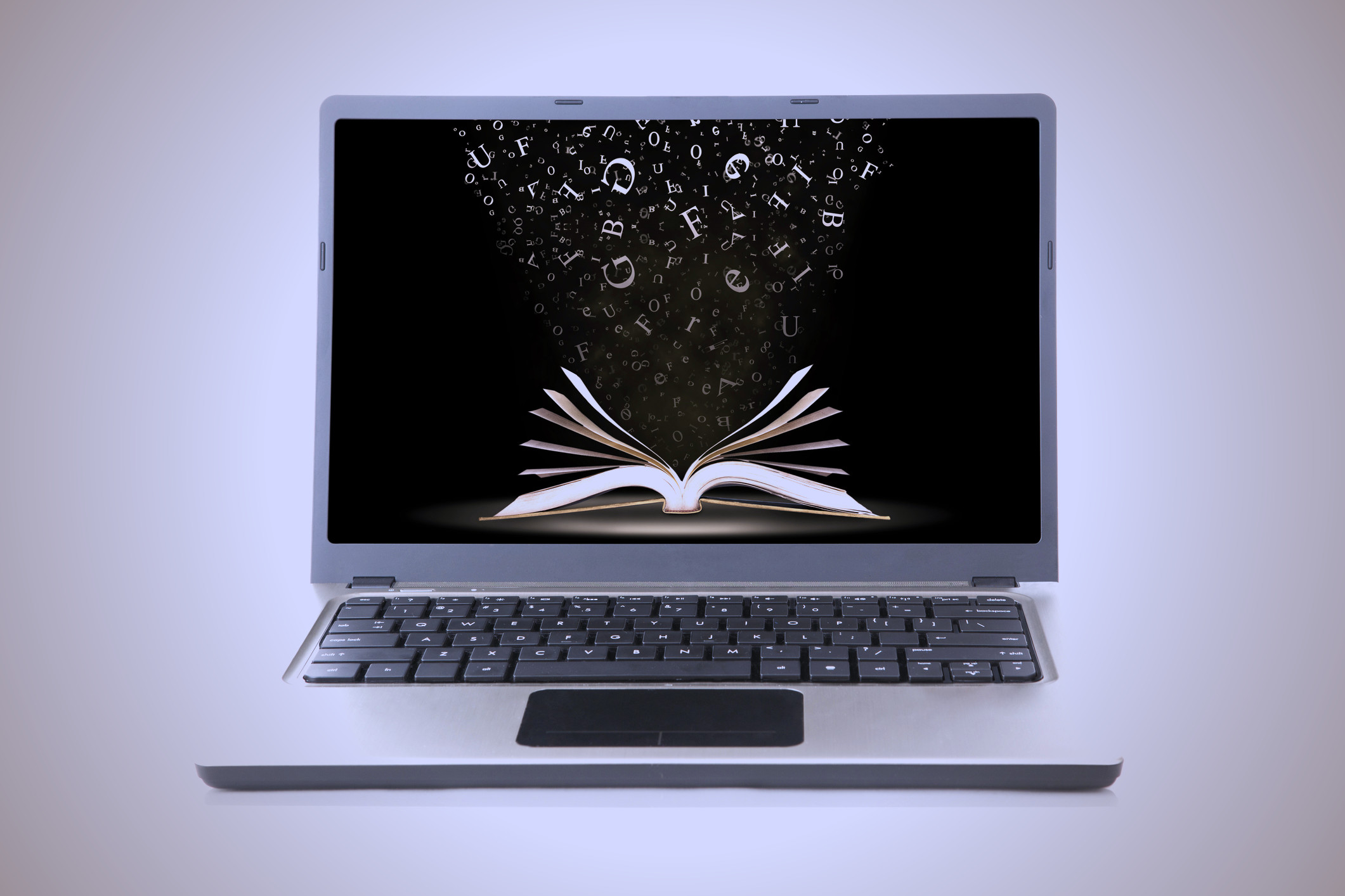Laptop with Book Background