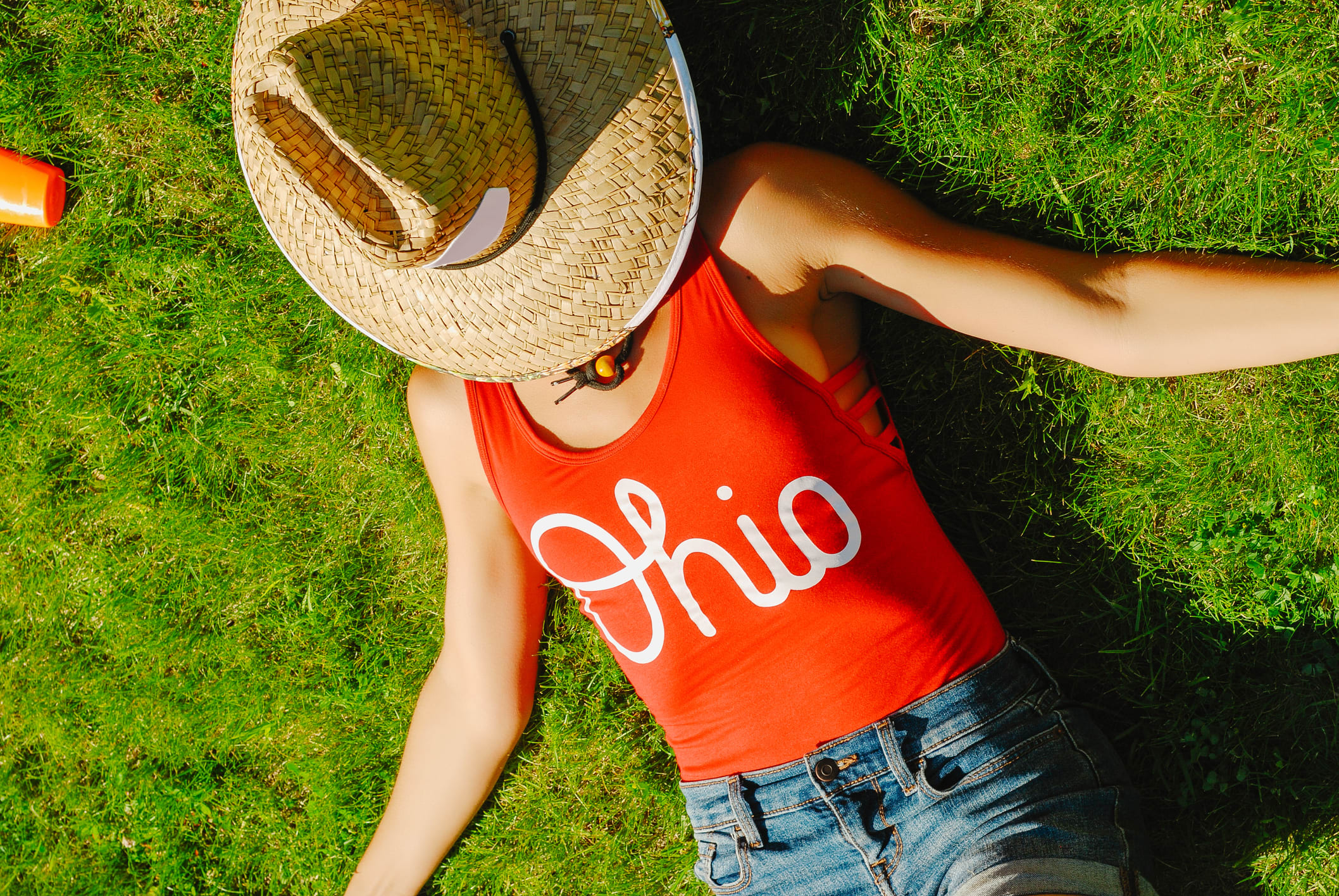 Woman in a Red Ohio Shirt
