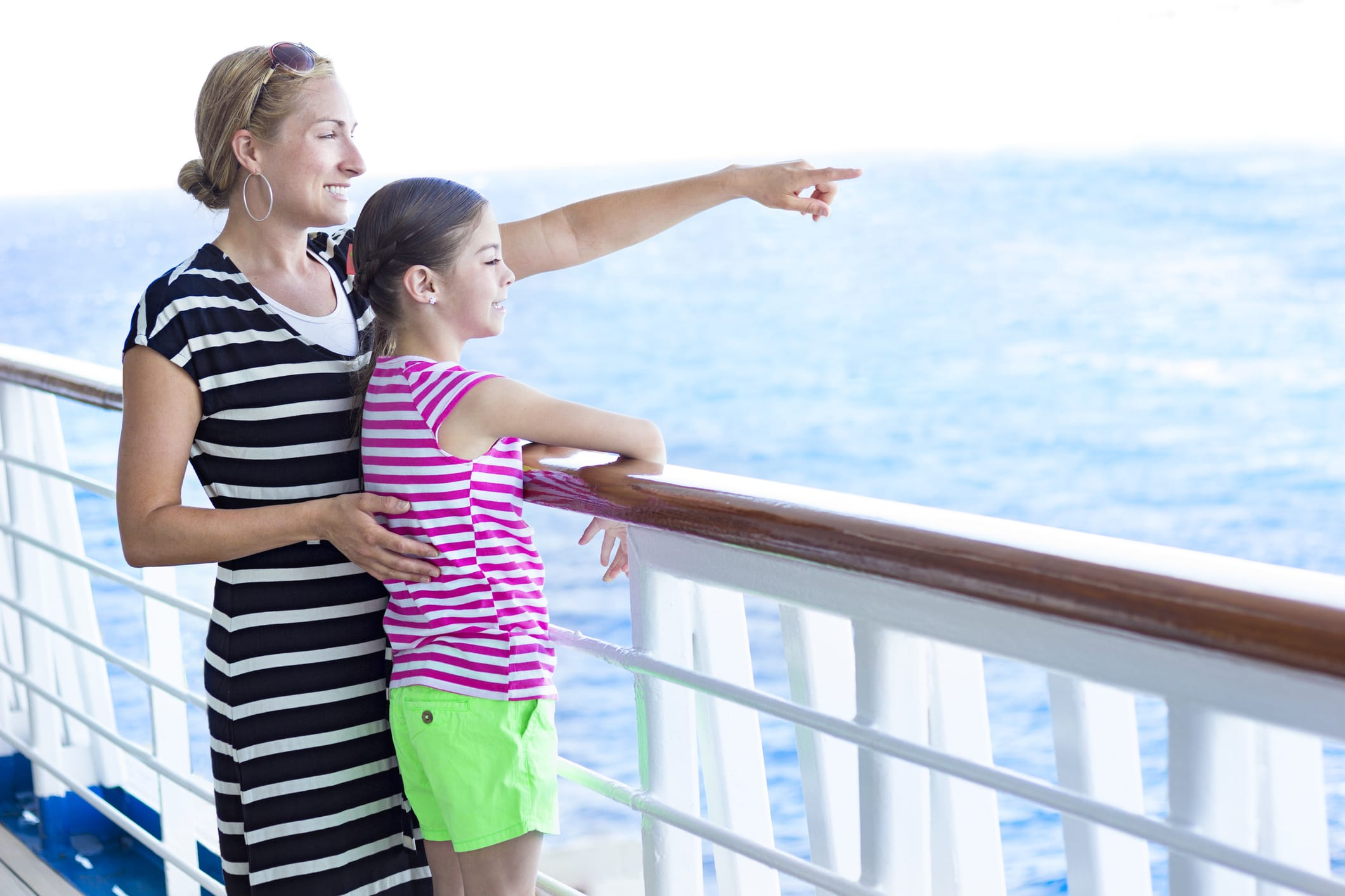 woman and child on a cruise ship