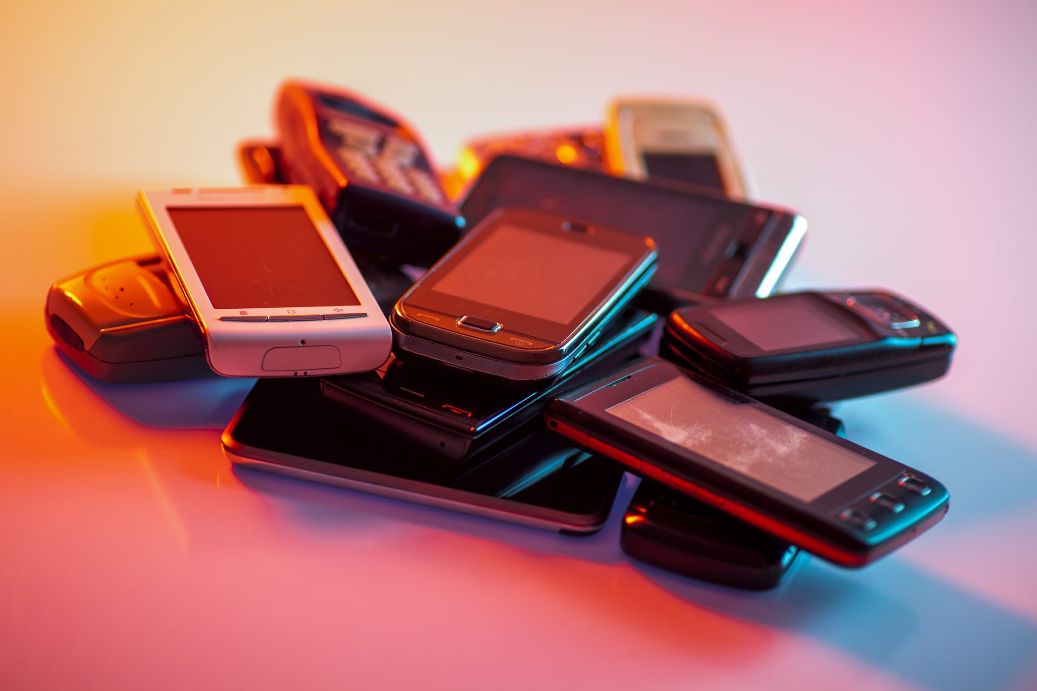 Cell phones in a pile
