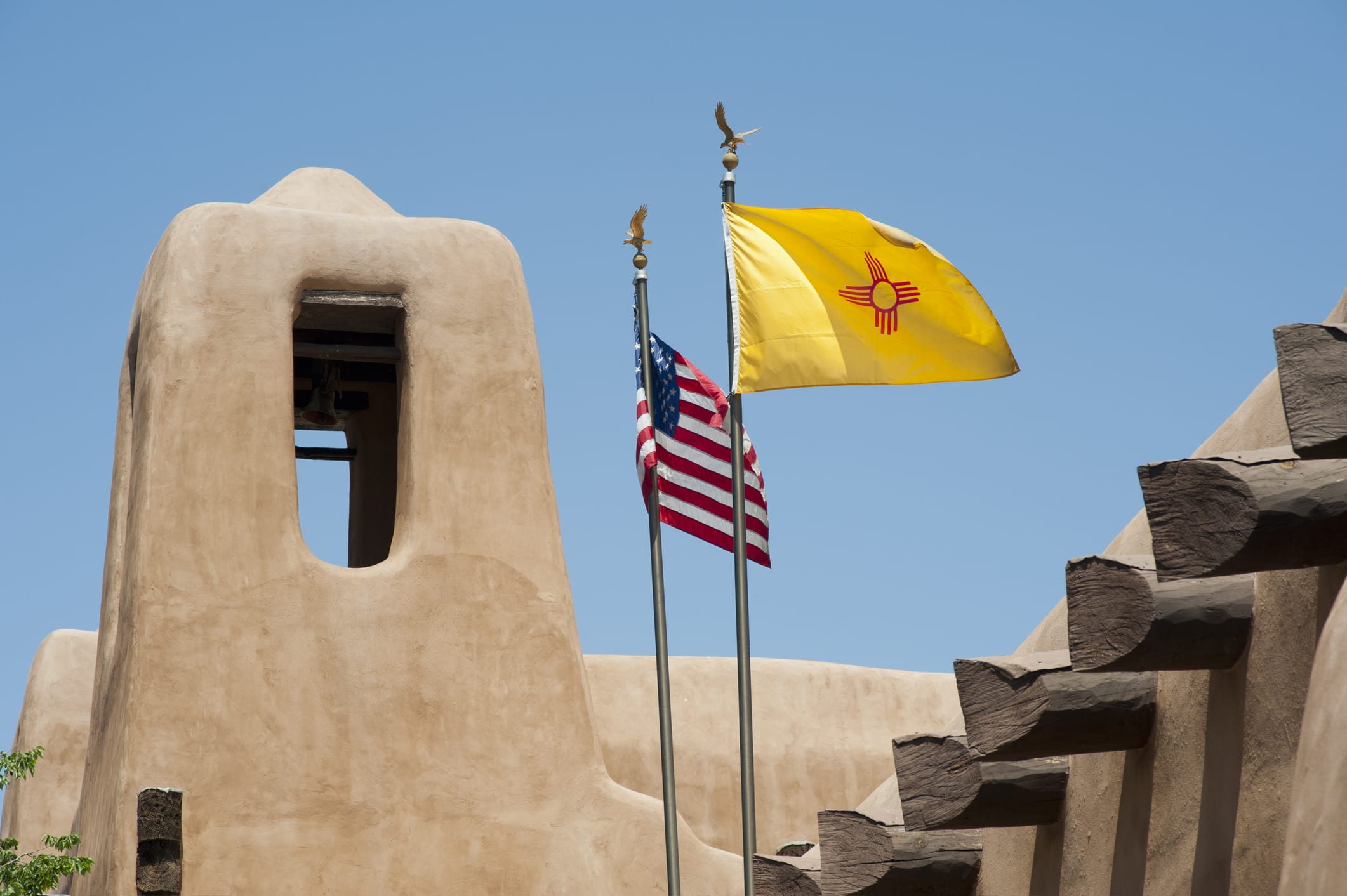 New Mexico flag and architecture