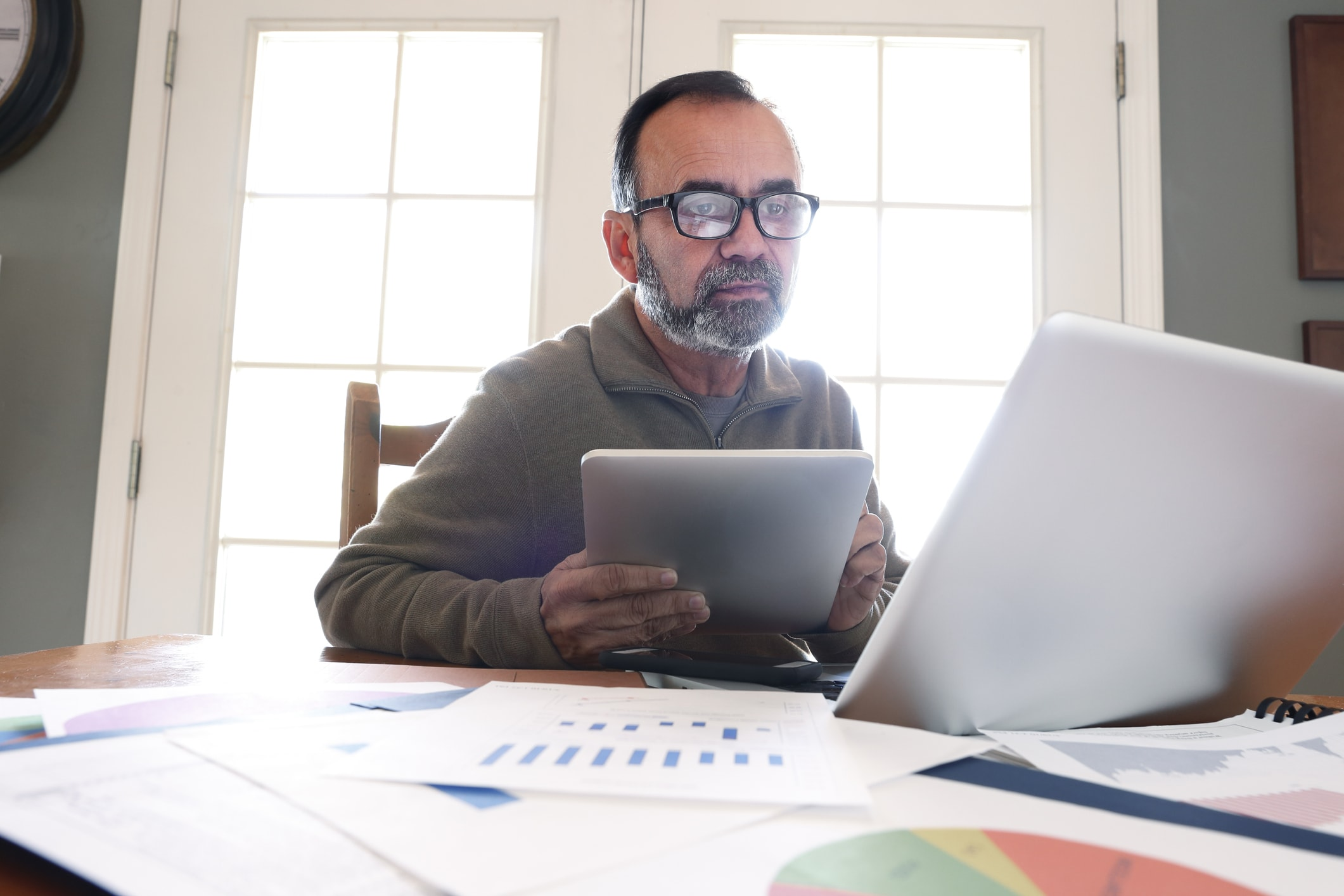Man working from home on a computer