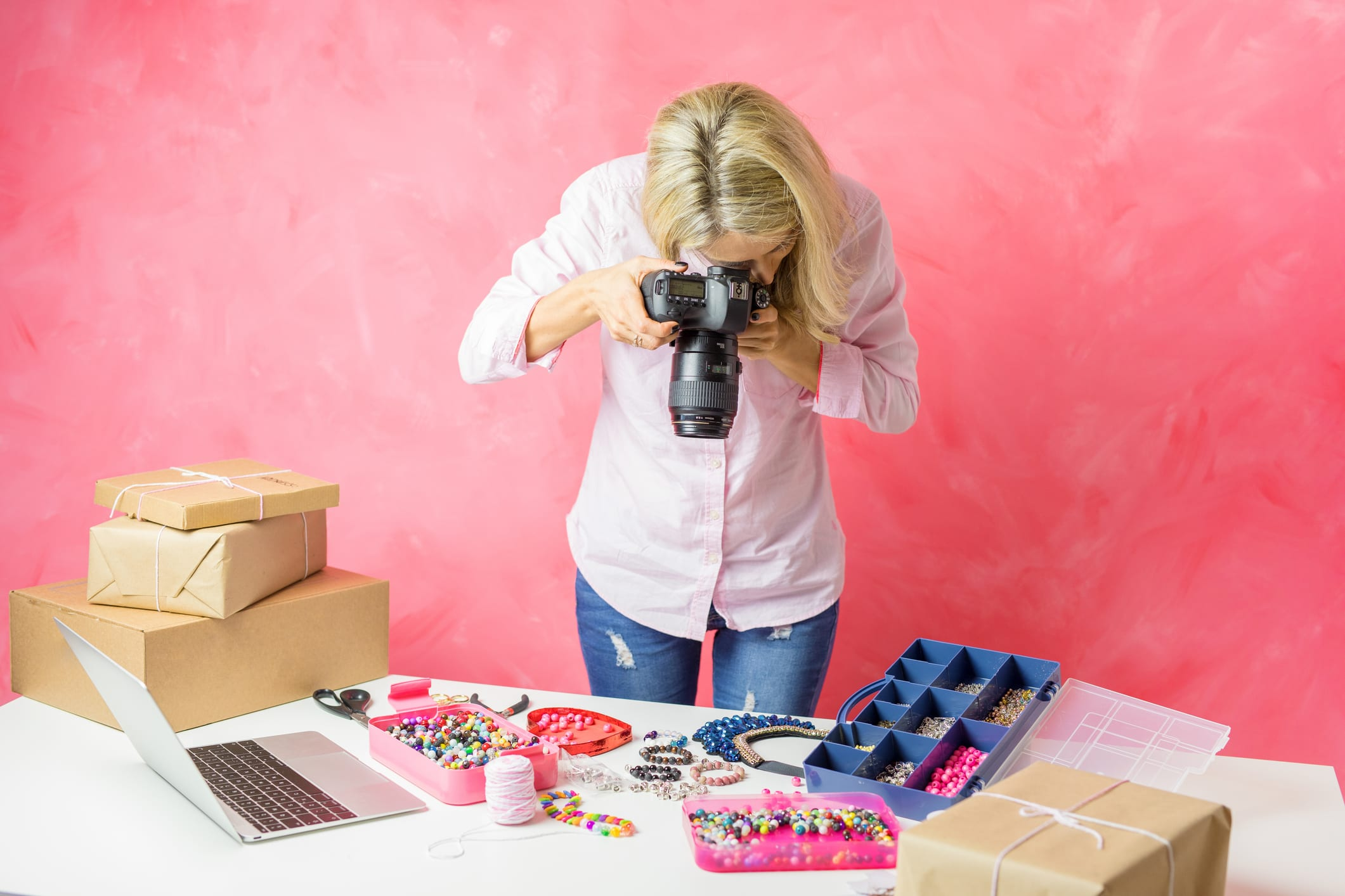 Woman Taking Photos of Products for Online Store