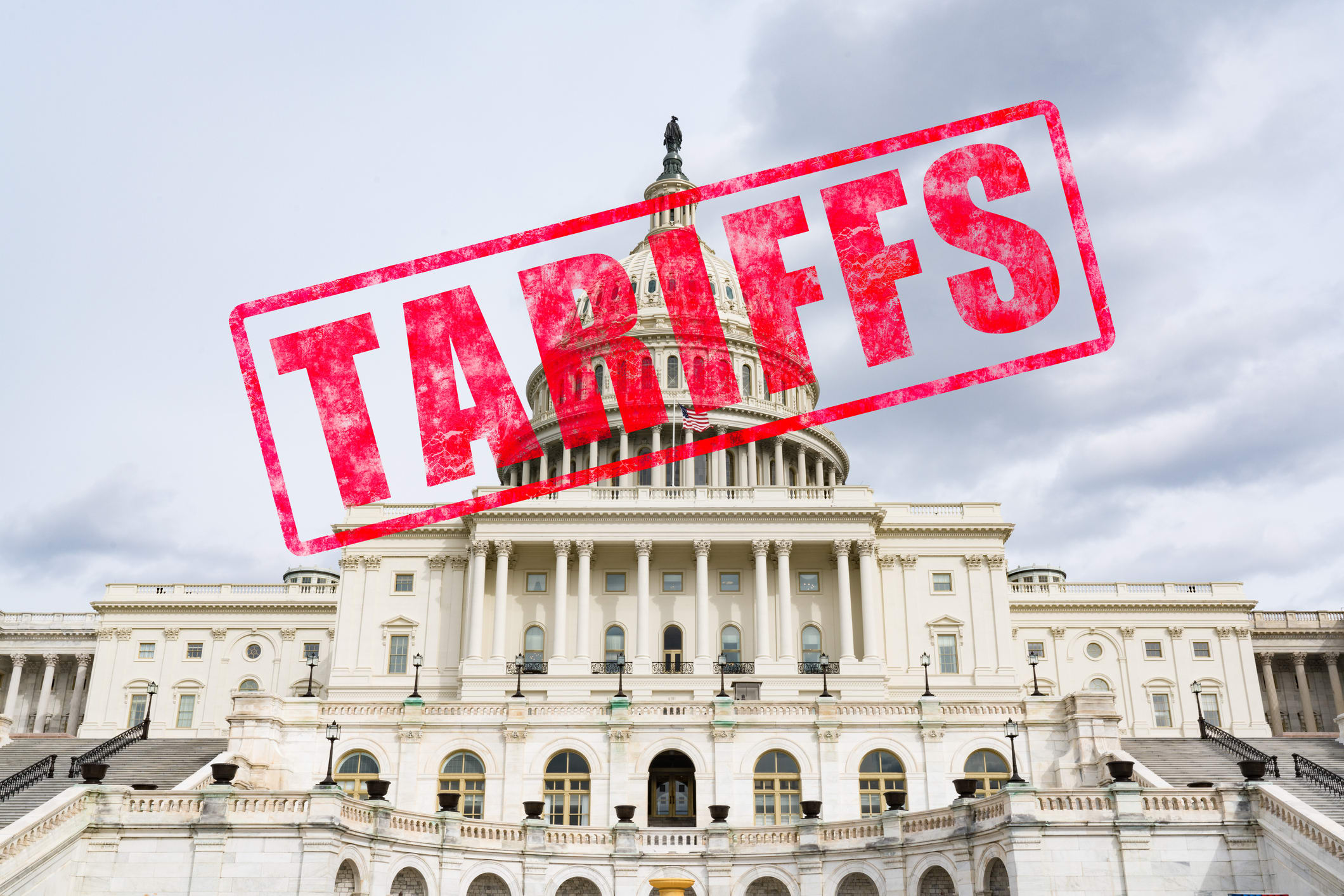 Tariff stamp on United States Capitol