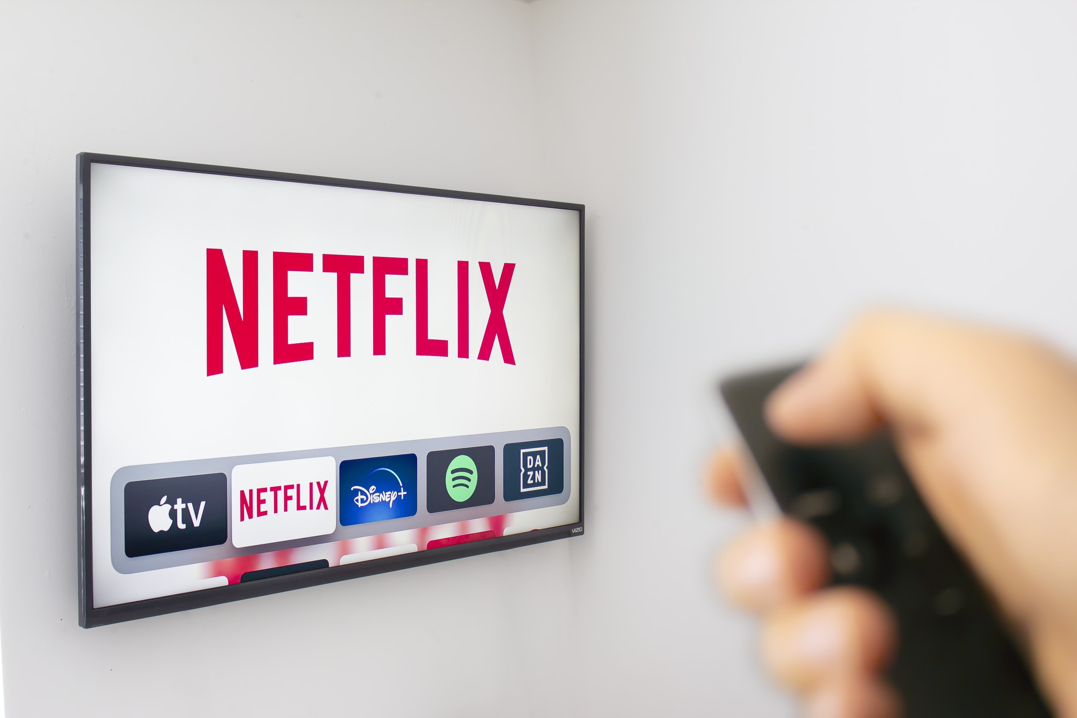 Selecting Netflix app with remote