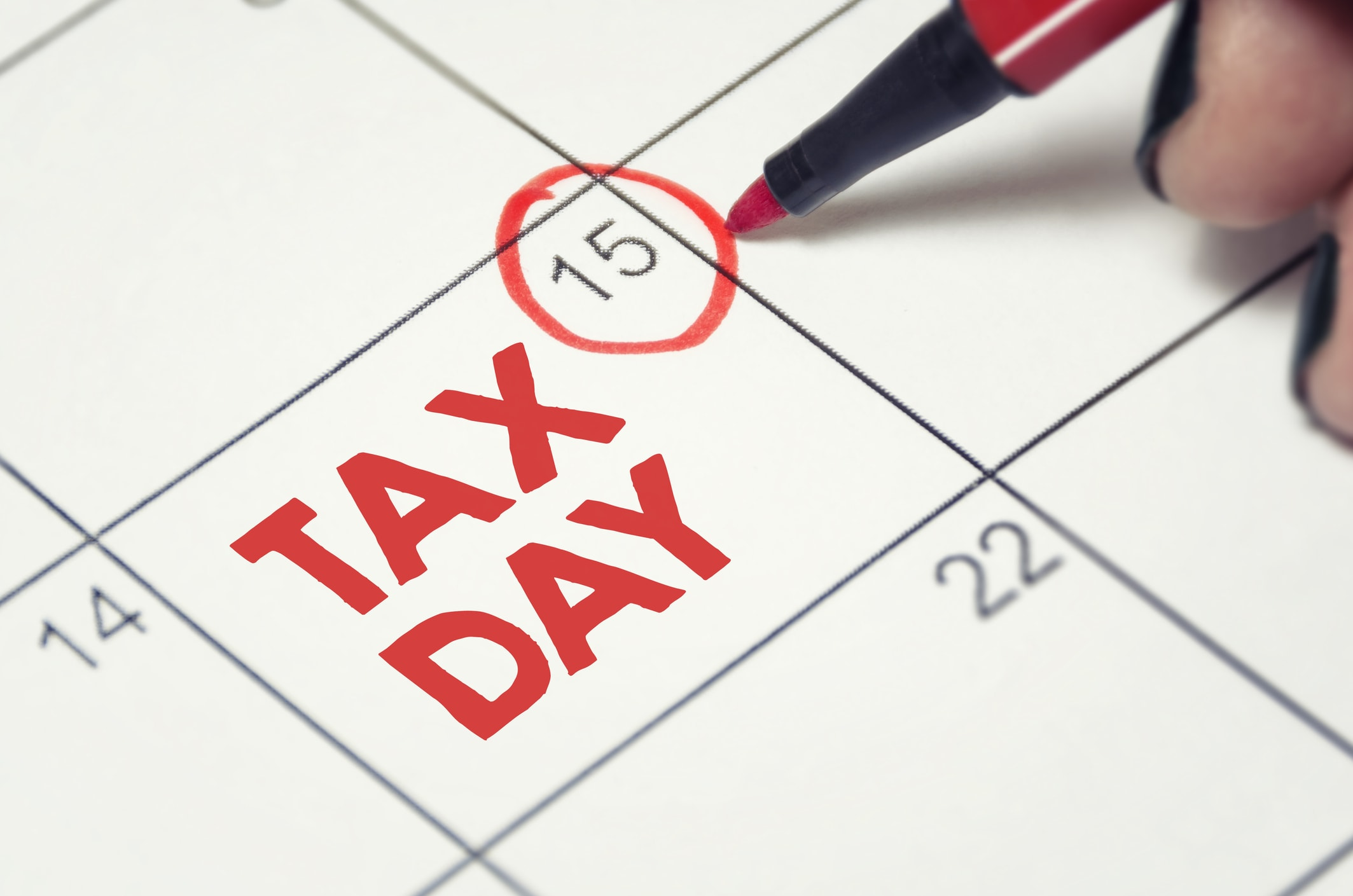 Tax Due Date Marked on the Calendar
