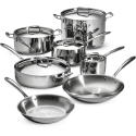 Tramontina 12-Piece Tri-Ply Clad Cookware Set for $200 + free shipping