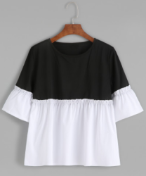 SheIn Women's Bell Sleeve Ruffle Hem Blouse $9