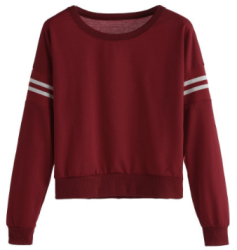 SheIn Women's Varsity Striped Crop Sweatshirt $11