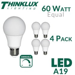Thinklux 60W-Equivalent LED Light Bulb 4-Pack $5
