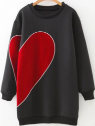 SheIn Women's Heart Pattern Sweatshirt Dress $31