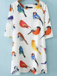 SheIn Women's Birds Pattern Loose Dress for $15