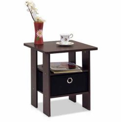 Furinno End Table with Bin Drawer for $14
