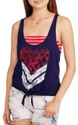 No Boundaries Women's Racerback 2Fer Tank for $3