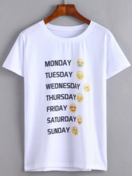 SheIn Women's Emoji Print T-Shirt for $8