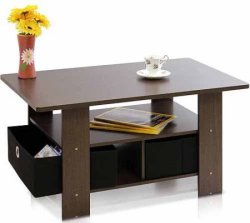 Petite Coffee Table w/ Foldable Bin Drawer for $23