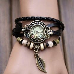Women's Vintage-Inspired Boho Leaf Watch for $2 + free shipping
