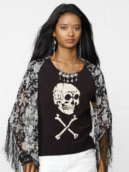 Denim & Supply Ralph Lauren Women's Skull Boyfriend T-Shirt for $20 + $5 s&h