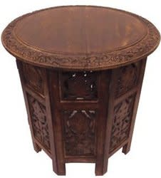 Jaipur Solid Wood Handcarved Accent Table for $60 + free shipping