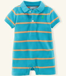 Ralph Lauren Layette Boys' Striped Cotton Polo Shortall for $15 + $5 s&h