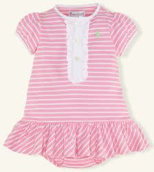 Ralph Lauren Layette Girls' Striped Ruffled Dress (size 3M) for $13 + $5 s&h