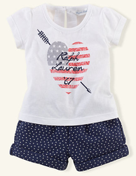 Ralph Lauren Infant Girls' Tee & Star Short Set for $28 + free shipping