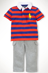 Ralph Lauren Infant Boys' Striped Rugby and Pants Set for $20 + $5 s&h