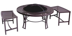 "36"" Teton Fire Table w/ 24"" Steel Fire Bowl & 2 Benches for $135 + free shipping"