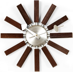 Stilnovo George Nelson Walnut Wood Spokes Wall Clock for $58 + free shipping