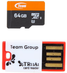 Team Xtreem 64GB UHS-1 microSDXC Card w/ reader for $29 + free shipping