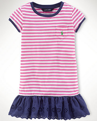 Ralph Lauren Girls' Eyelet Striped Ringer Dress for $11 + free shipping