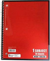 Wide-Ruled 70-Sheet Spiral Notebook for 17 cents