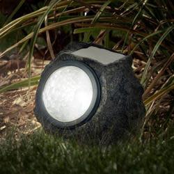 LED Solar Rock Landscaping Lights 4-Pack for $14