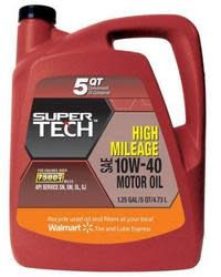 SuperTech High-Mileage Motor Oil 5qt Bottle $10
