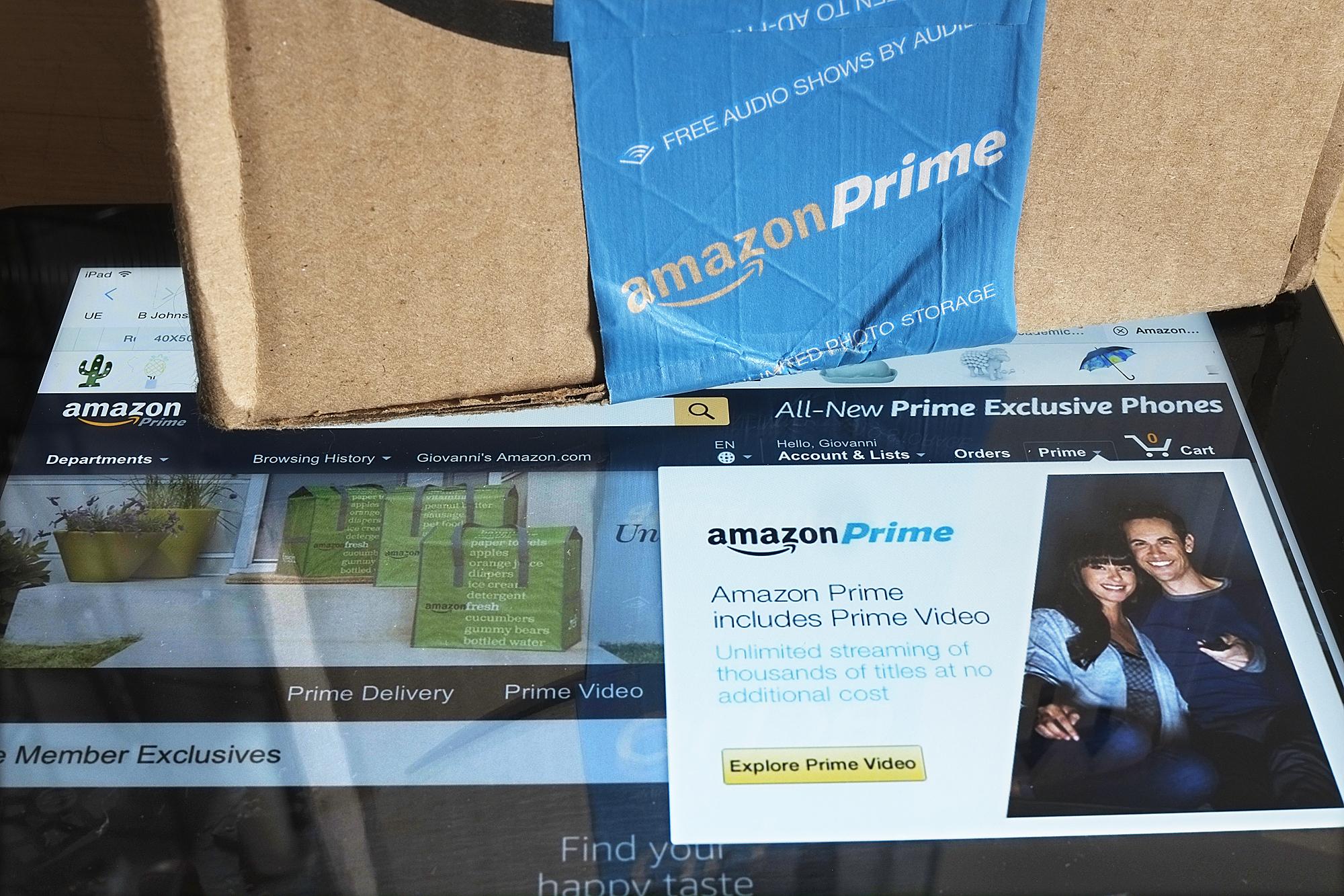 Amazon box and website on iPad