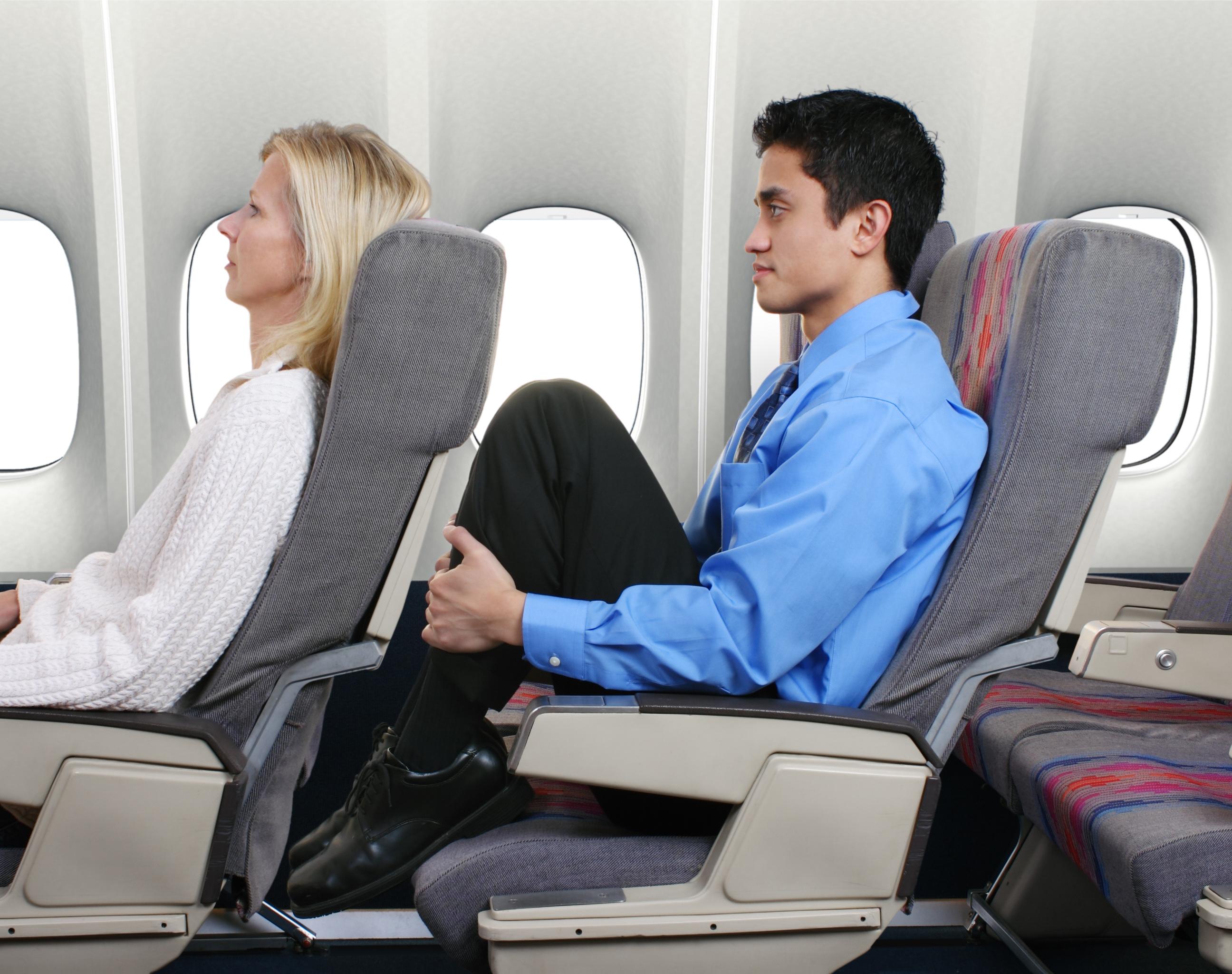 cramped airplane seats