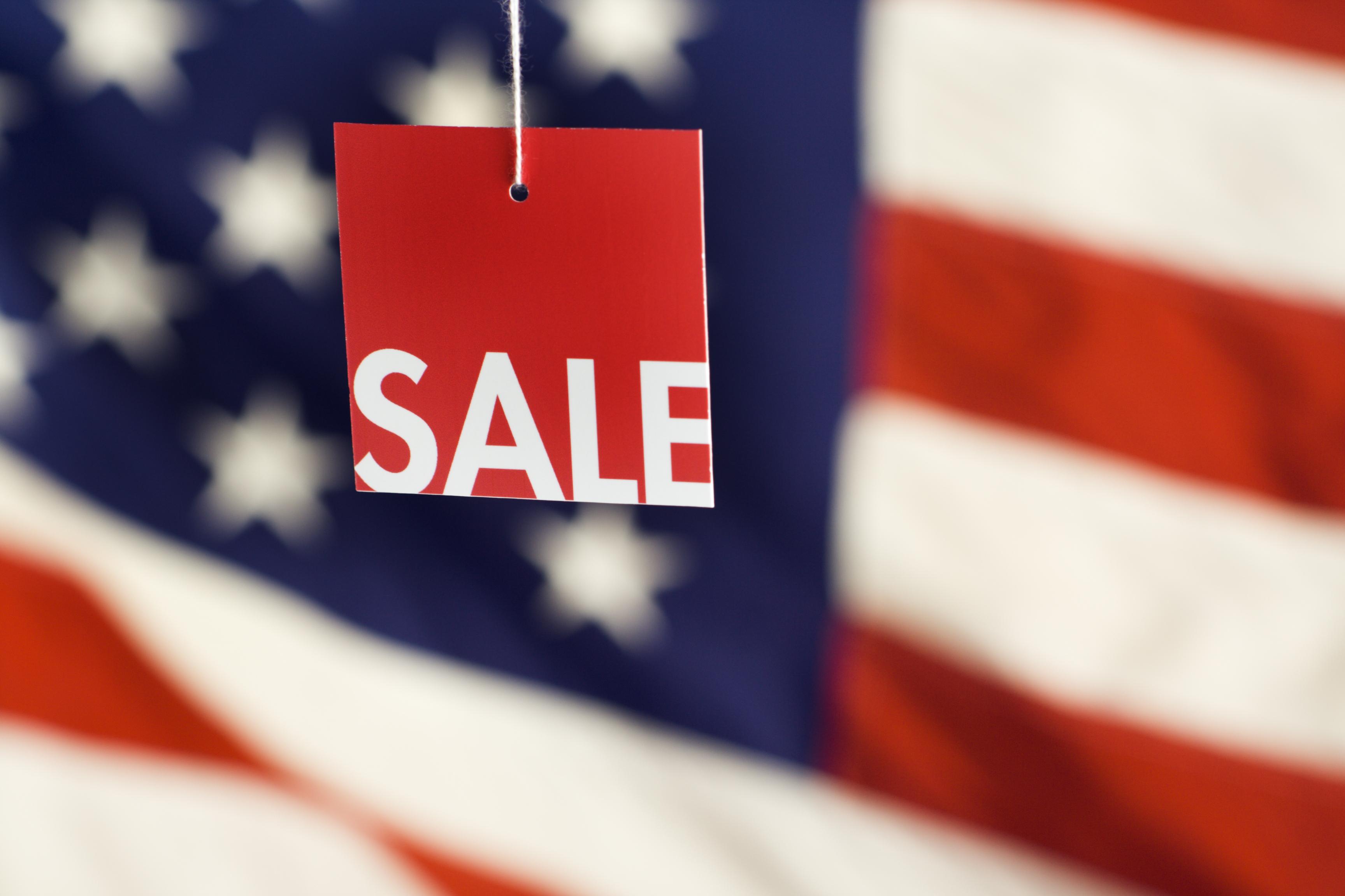 American flag sale tag