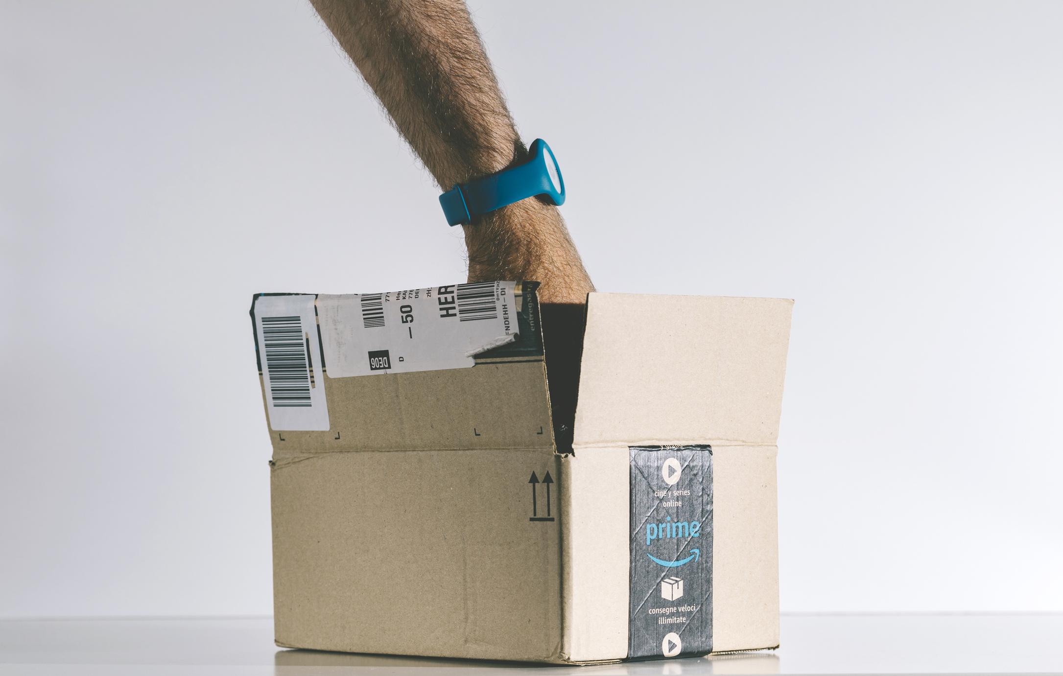 reaching into Amazon Prime box